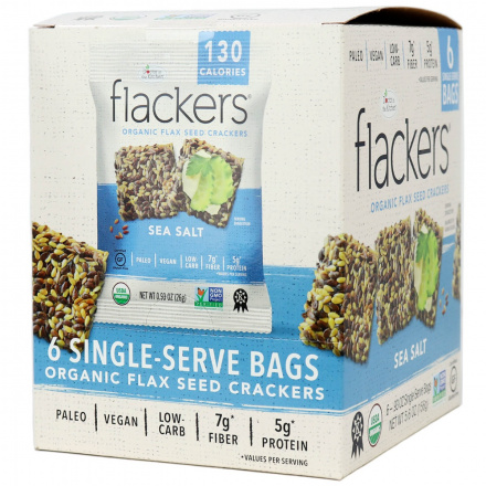 Flackers Sea Salt Organic Flax Seed Crackers, 6 bags