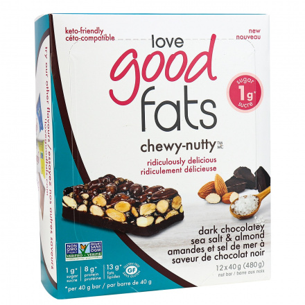 Love Good Fats Chewy-Nutty Keto Bars Dark Chocolatey Sea Salt & Almond, 12 Pack