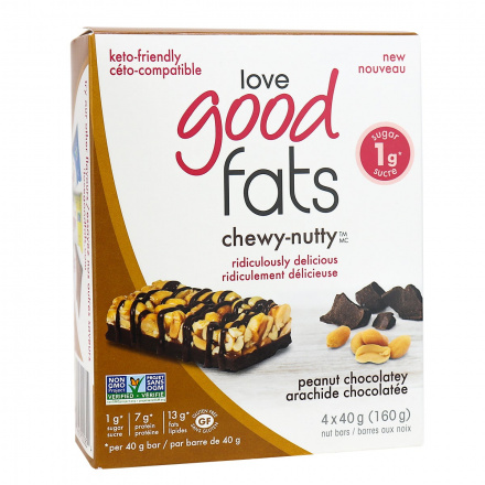 Love Good Fats Chewy-Nutty Keto Bars Peanut Chocolatey, 4 Pack