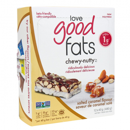 Love Good Fats Chewy-Nutty Keto Bars Salted Caramel, 12 Pack