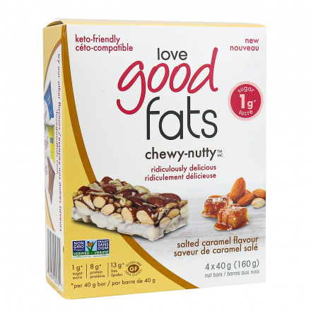 Love Good Fats Chewy-Nutty Keto Bars Salted Caramel, 4 Pack