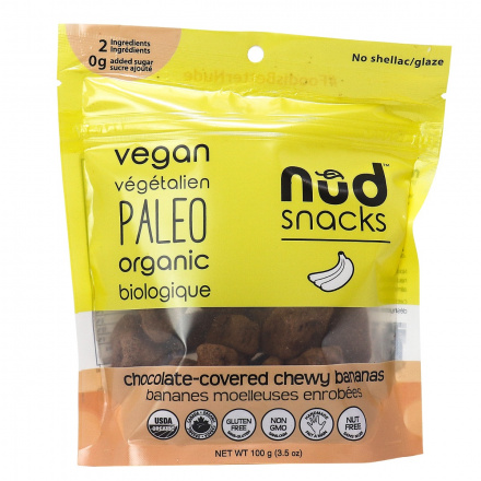 Nud Snacks Chocolate Covered Chewy Bananas, 100g