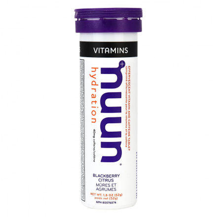 Nuun Vitamins Electrolyte Supplement With Caffeine Blackberry Citrus, 10 Tablets