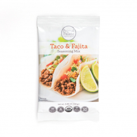 Primal Palate Organic Taco & Fajita Seasoning Mix, 24g