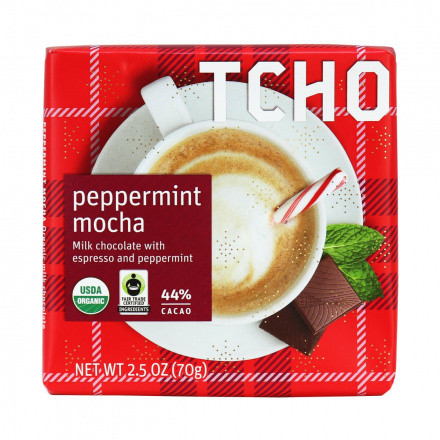 TCHO Peppermint Mocha Milk Chocolate Bar, 70g