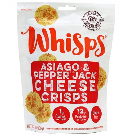 Whisps Asiago & Pepper Jack Cheese Crisps, 60g