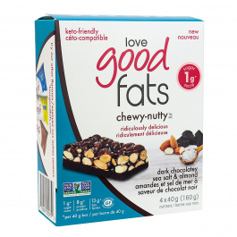 Love Good Fats Chewy-Nutty Keto Bars Dark Chocolatey Sea Salt & Almond, 4 Pack
