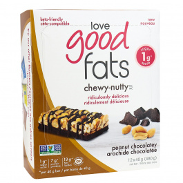 Love Good Fats Chewy-Nutty Keto Bars Peanut Chocolatey, 12 Pack