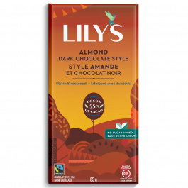 Lily's Chocolate Stevia Sweetened Dark Chocolate Bar Almond, 85g