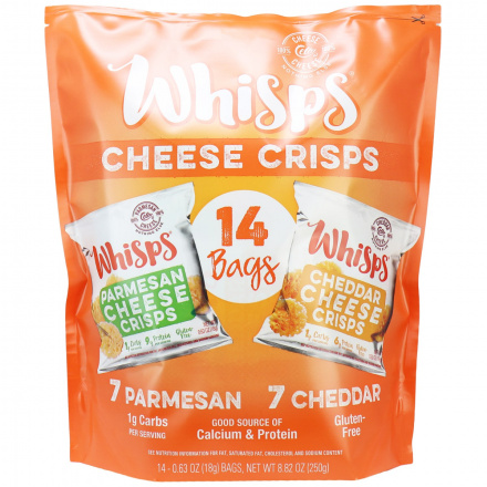 Cello Whisps Snack Pack, Parmesan & Cheddar, 14 bags