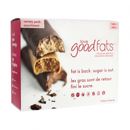 Love Good Fats Keto Bars Plant-Based Variety Pack, 12 Bars