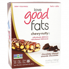 Love Good Fats Chewy-Nutty Chocolatey Almond Bars, 4 Pack